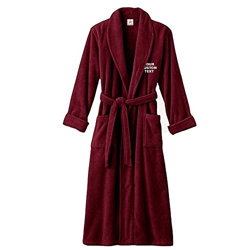 7f9bfb74e7d03 Unisex Personalised Bathrobe with Your Custom Text Embroidery on Terry  Towel 100% Cotton Terry Towel