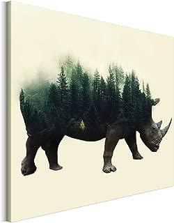 Revolio - Cuadro en Lienzo - impresión artística - Decoracion de Pared - Tamaño: 50x40 cm - Rinoceronte árboles Verde