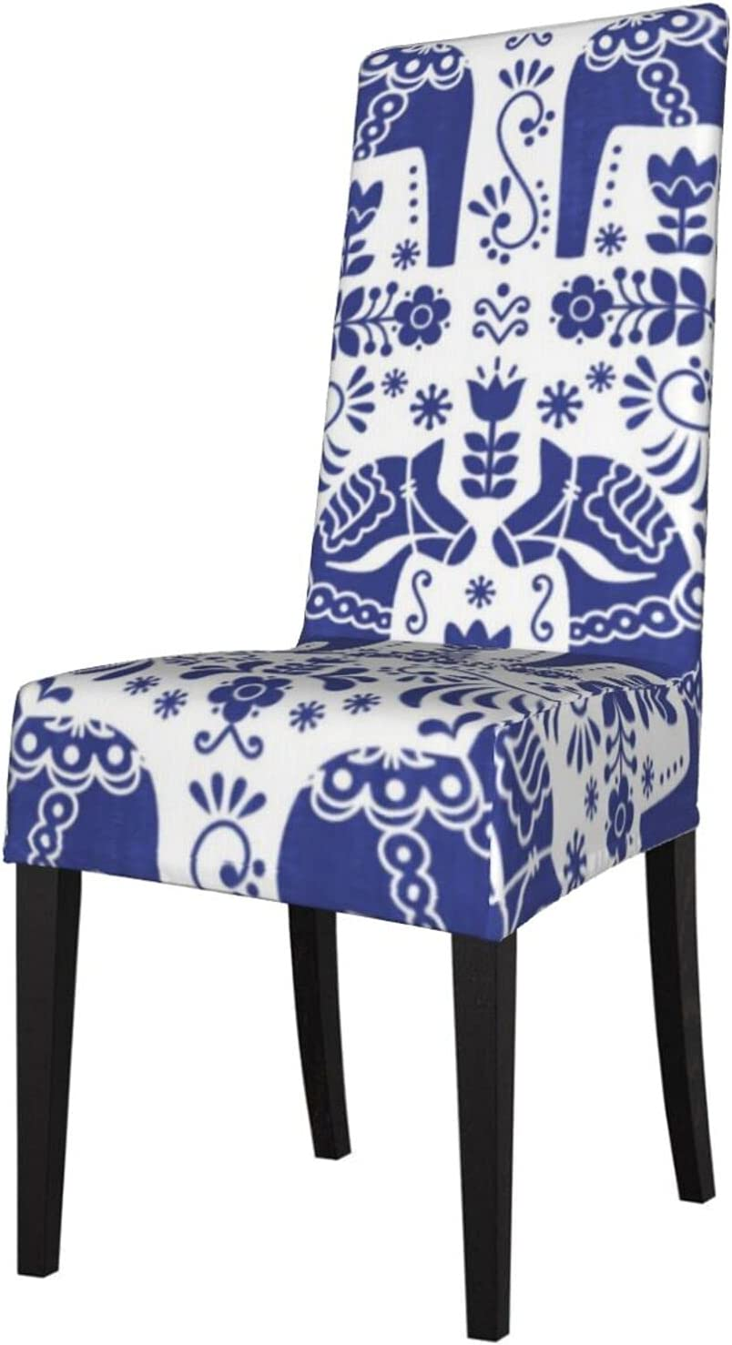 QUAVZI 2PCS Stretch Chair Direct store Covers for Horse Blu Room Dala Mail order cheap Dining