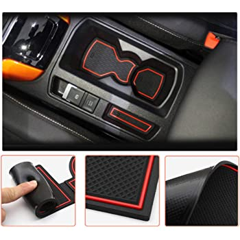 Red CDEFG Non-Slip Gate Slot Pad Cup Mats Auto Interior Door Slot Pads Mat for V W T-ROC Automobile Center Console Liner Parts Car Styling Cushion Accessories