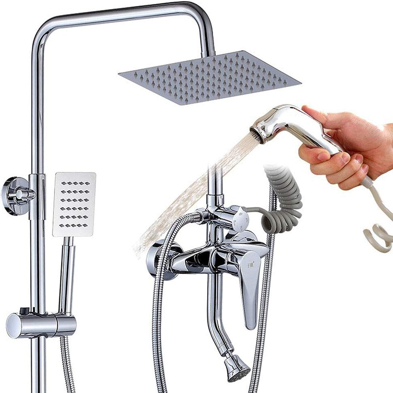 WETRR Duschsystem Chrom, Duschkopf und Handheld-Komplettset, Duschhahn Inklusive InsGrößetion Kupferzubehr