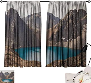 Michaeal Landscape top Darkening Curtains Secret Lake on The Rock Mountain Resort Stunning Nature Earth Landscape Photo Curtain Panels Brown Teal W55 x L39