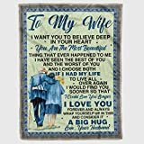 Personalized to My Wife Fleece Blanket from Husbands I Want You to Believe Deep Great Customized Gift for Valentine Birthday Christmas Thanksgiving Graduation Wedding