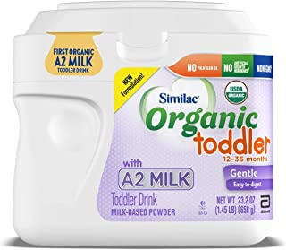 Similac Organic Toddler Drink with A2 Milk, First & Only USDA Organic Toddler Drink Made with A2 Milk, Gentle and Easy to Digest, Supports Brain and Eye Health, Powder, 1.45-lb Tub, 6 Count