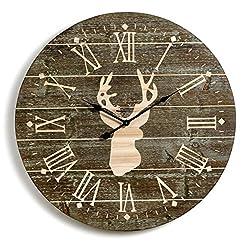 Big Sky Carvers Rustic Large Whitetail Deer Wooden Wall Clock 31.5D