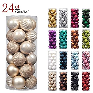 "KI Store 24ct Christmas Ball Ornaments Shatterproof Christmas Decorations Tree Balls Pastel for Holiday Wedding Party Decoration, Tree Ornaments Hooks included 2.36"" (60mm Champagne)"