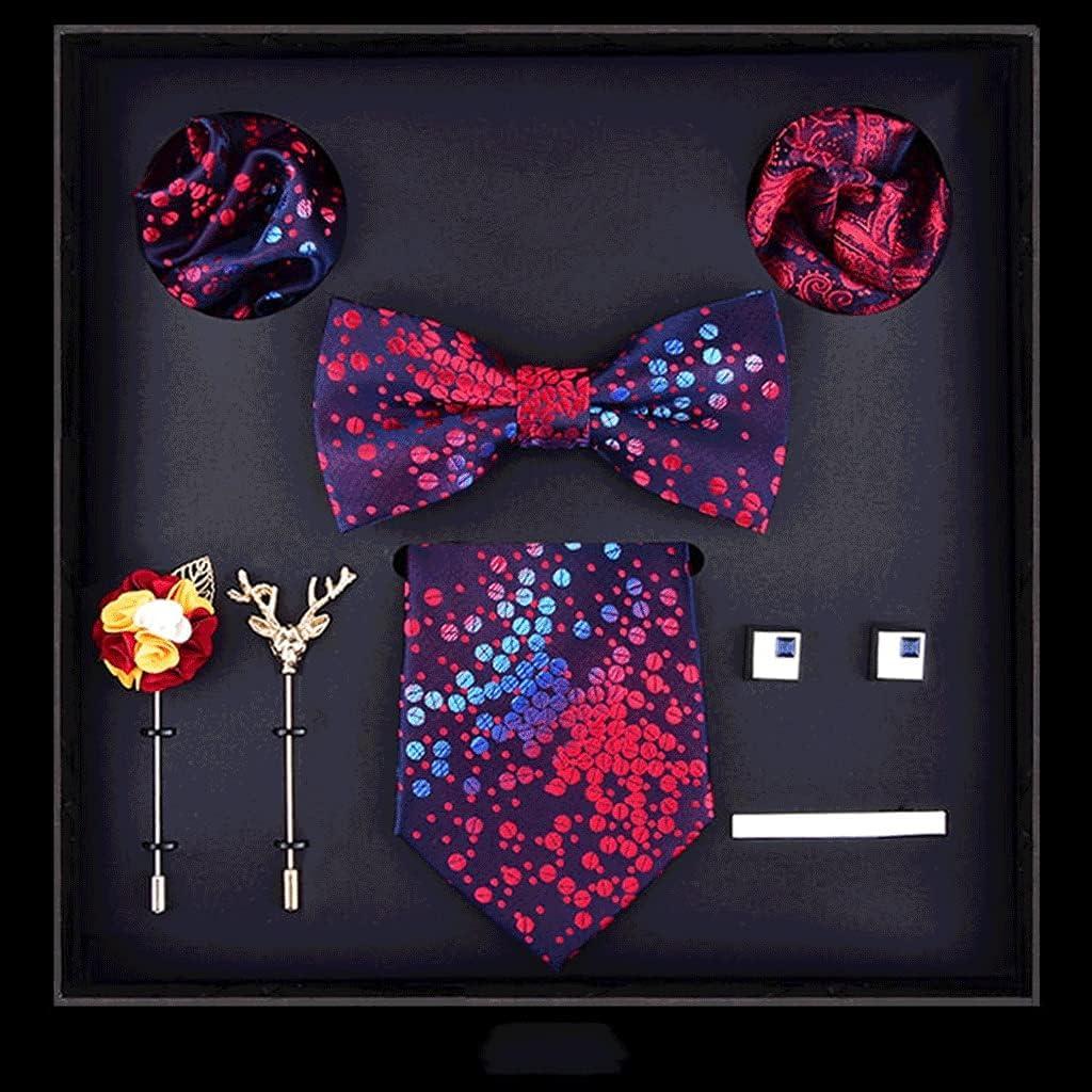 UXZDX Men Tie Set 8CM Dress Necktie Bowtie Corsage Pocket Square and Ties Clip Gift Box for Business Wedding (Color : A)