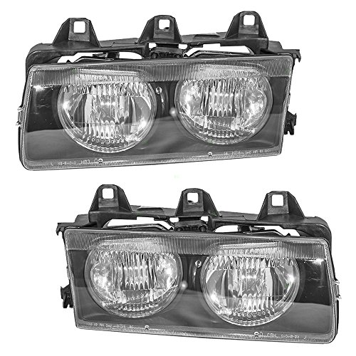 Driver and Passenger Headlights Headlamps Replacement for 1992-1999 E36 3 Series 63121387861 63121387862