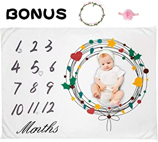 GORRON Baby Monthly Milestone Blanket,100% Organic Fleece Extra Soft,Includes Floral Wreath & Headband,Photography Backdrop Photo Prop for Newborn,New Moms Set