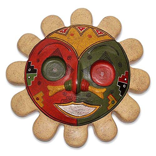 NOVICA Dekorative Inka-Maske, Keramik, Mehrfarbig Rising Sun
