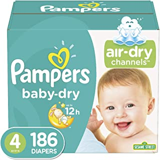 Diapers Size 4 (186 Count) - Pampers Baby Dry Disposable Baby Diapers, One Month Supply