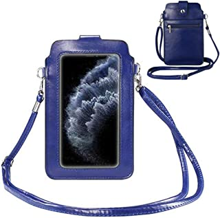 Touch Screen Purse Cell Phone Wallet Holder with Clear Window/Card Pocket,PU Leather Crossbody Shoulder Bag for iPhone 12,...