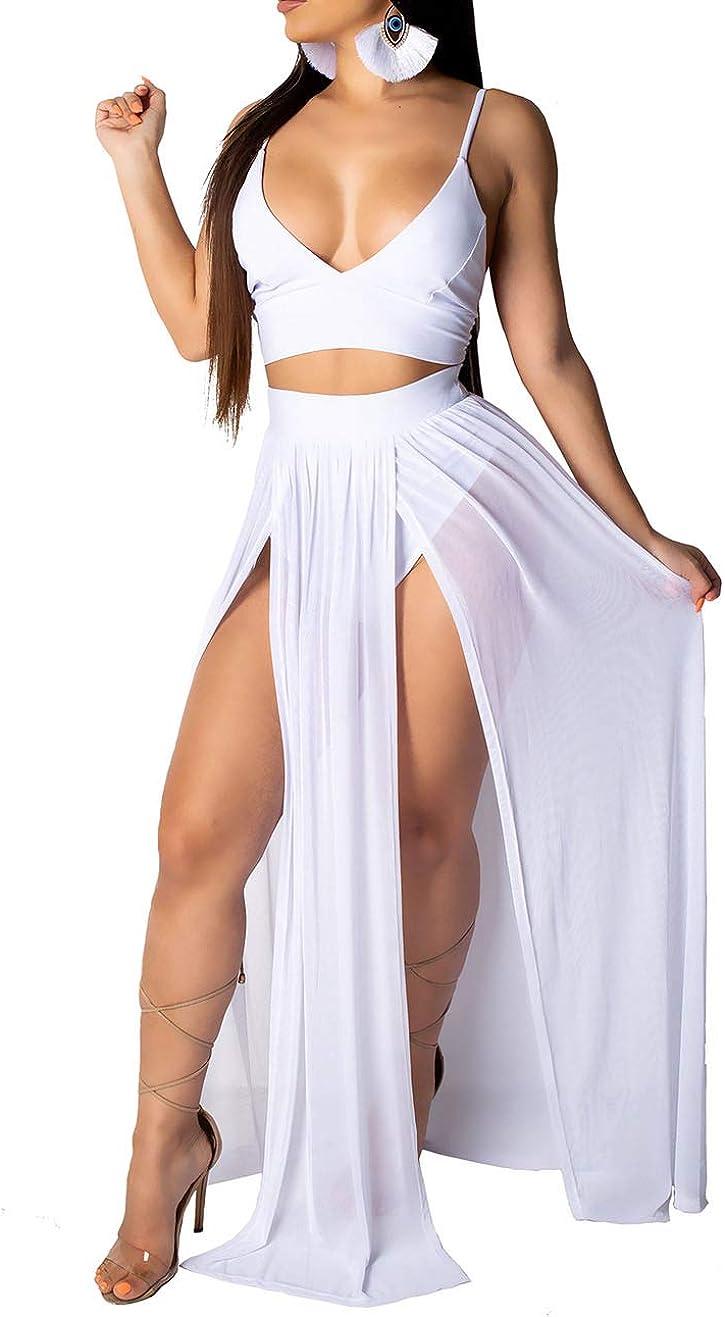 Aro Lora Women's Sexy Crop Top and Skirt Set High Side Slit Two-Piece Maxi Dress Summer