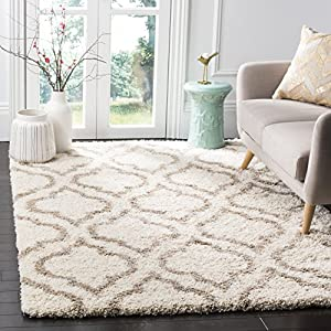 SAFAVIEH Hudson Shag Collection SGH284D Moroccan Non-Shedding Living Room Bedroom Dining Room Entryway Plush 2-inch Thick Area Rug, 5'1″ x 7'6″, Ivory / Beige