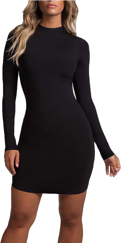 Zeagoo Women's Bodycon Long Sleeve Mini T Shirts Dresses for Party Club