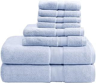 800GSM 100% Cotton Luxury Turkish Bathroom Towels , Highly Absorbent Long Oversized Linen Cotton Bath Towel Set, 8-Piece Include 2 Bath Towels, 2 Hand Towels & 4 Wash Towels , Light Blue