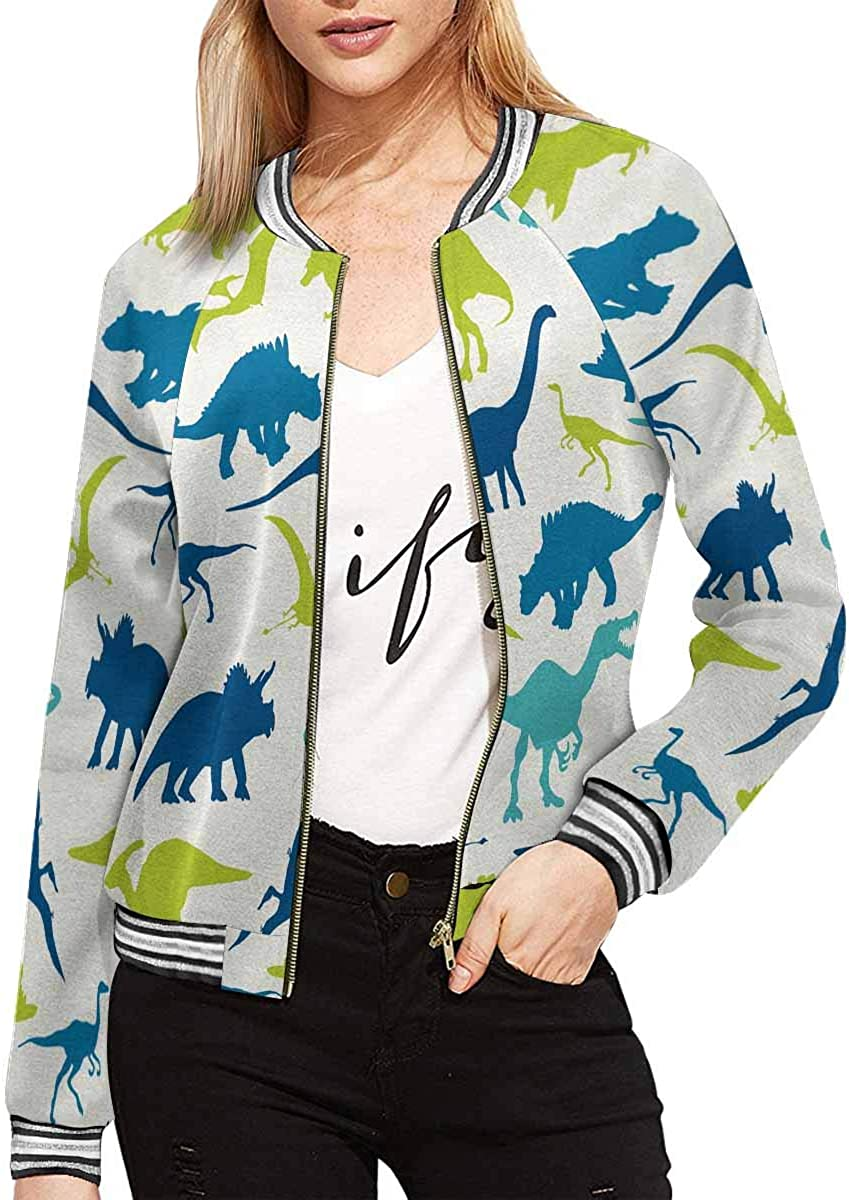 InterestPrint Women's Colorful Music Note Stand Collar Long Sleeve Jacket