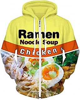 SINOVAL Men Fleece Zipper Fashion Hoodies with Cap Print Chicken Ramen Noodle Soup 3D Sweatshirt