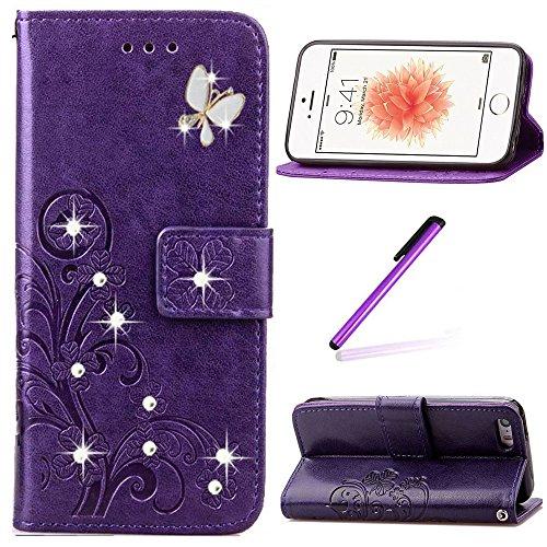 EMAXELERS Funda iPhone 5C Funda Premium PU Cuero Cartera para Tarjetas y Cierre Magnetico Soporte Plegable Funda Protectora para iPhone 5C,Purple Clover with Butterfly and Diamond