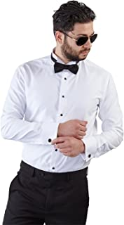 New Mens Tailored Slim Fit White Wing Tip Tuxedo Shirt French Cuff by Azar