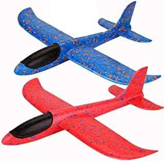 Qvatox 2 Pack Airplane, Manual Throwing Foam Airplane [2 Flight Mode] Hand Launch Glider Plane Inertia Aircraft Outdoor Sports Toy