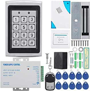 Access Control Systems, Durable Blue Backlight Keyboard Door Security System with 180kg/620lbs Electric Magnetic Lock, 10pcs RFID Keyfobs and Controller