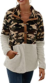 Zhhlinyuan Fashion Camouflage Stitching Sweatshirts Womens Cozy Stand Collar 1/4 Button Pullover Jumper Tops Outwear Long Sleeve