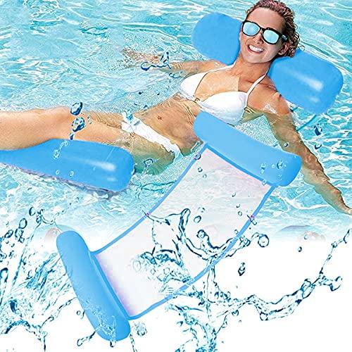 Esteopt Aufblasbares Schwimmbett, Aufblasbare Wasserhängematte, Wasser Hängematte 4-in-1 Ultrabequeme Luftmatratze Schwimmende Wasser Bett Matte für Erwachsene und Kinder (Blau)
