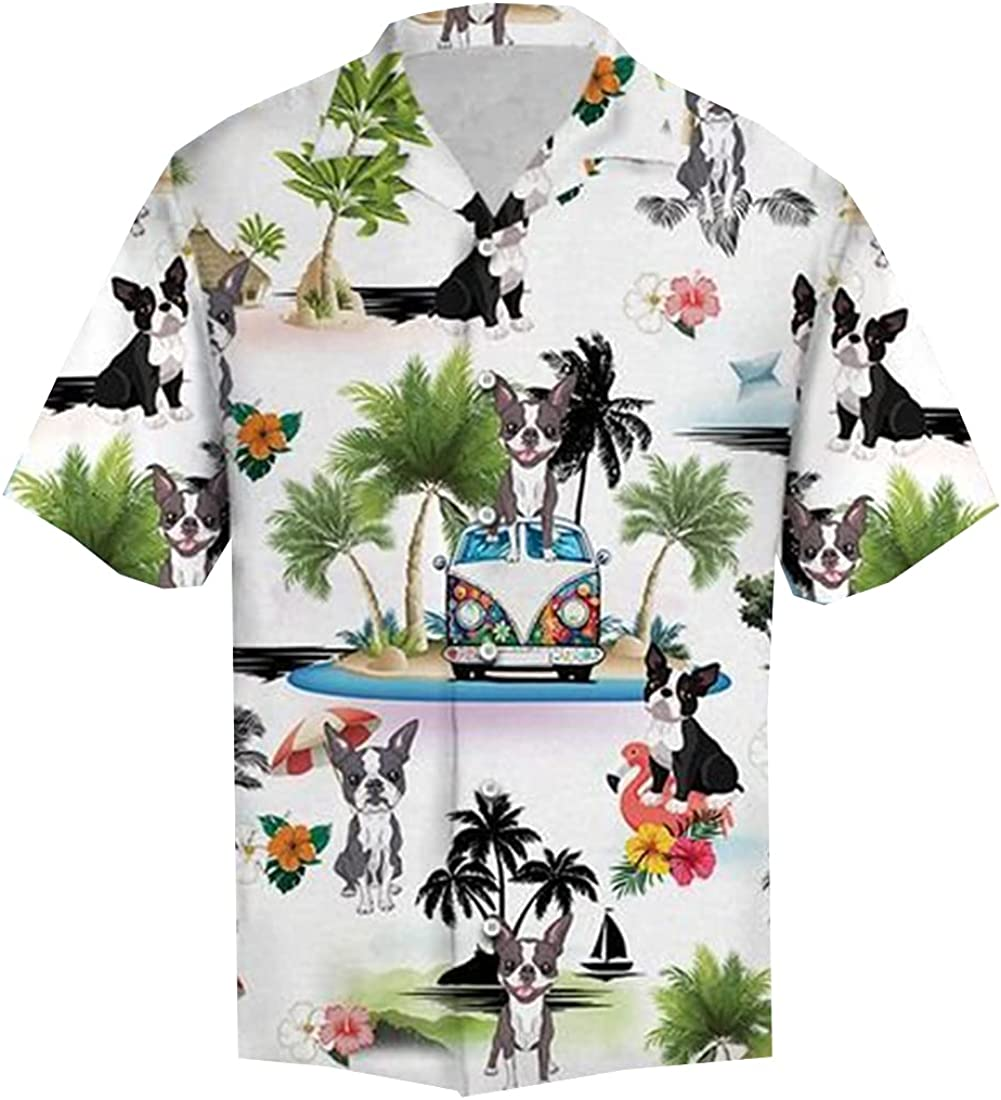 Dog Hawaiian Shirts for Men - Vacation Button Down Mens Hawaiian Shirts Short Sleeve Series 52