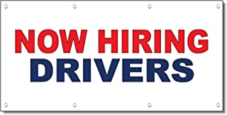 Now Hiring Drivers Red Blue 13 Oz Vinyl Banner Sign with Grommets 2 Ft X 4 Ft