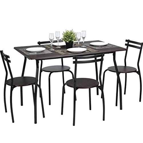 Coavas 5pcs Dining Table Set Brown Kitchen Rectangle With 4 Round Chairs Home