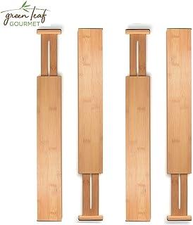 $25 » Bamboo Drawer Divider Set of 4 - Kitchen Drawer Organizer Spring Adjustable & Expendable Drawer Dividers, Made of 100% Organic Bamboo - Best for Kitchen, Dresser, Bedroom, Baby Drawer, Bathroom, Desks