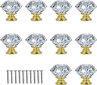 Crystal Door Knobs,10 Pcs Crystal Door Handles Brass,30mm Glass Drawer Knobs Crystal Door Handles Diamond Pulls with Screw...