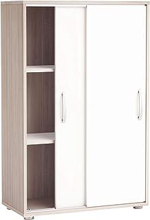 comprar comparacion Miroytengo Mueble Armario Auxiliar Puertas correderas Color Blanco y Roble 68x33x106 cm