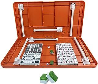 Mahjong, Portable Mahjong Mini Mahjong Set Chess Card Game with Folding Table Traditional Chinese Edition Game Set 144 Pieces Acrylic Material Mahjong Travel Family Leisure Time