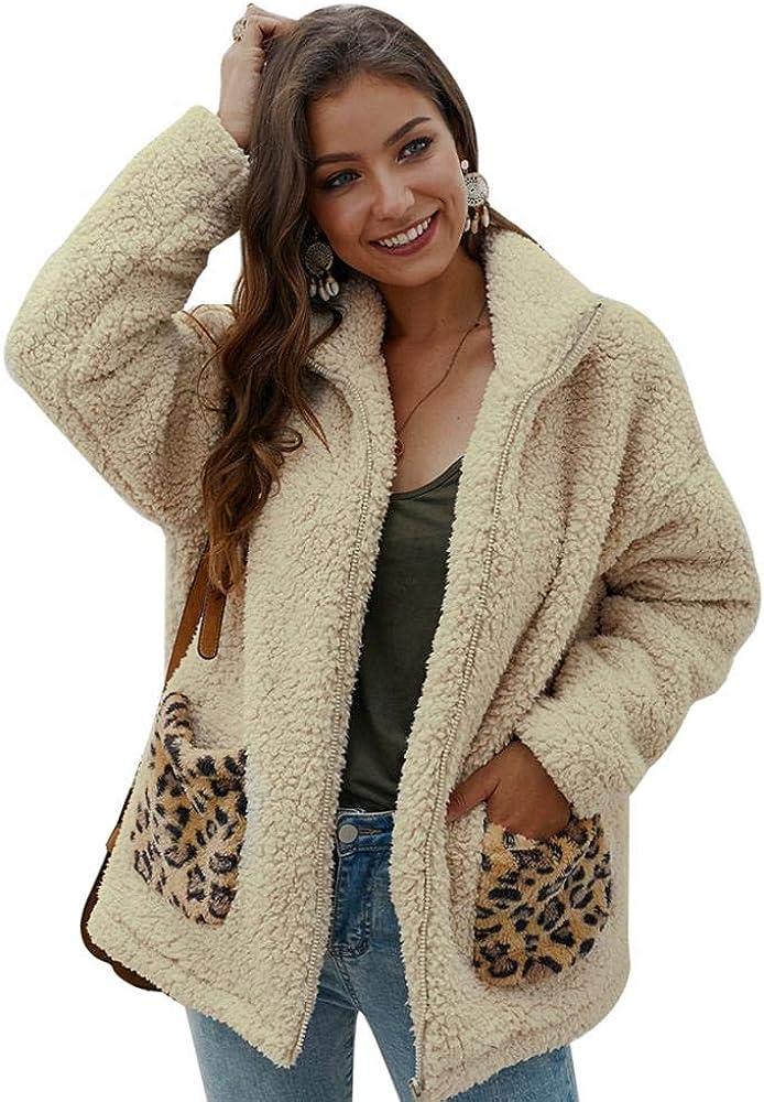 YYW Women Long Sleeve Sherpa Jacket Fuzzy Fleece Faux Shearling Coat