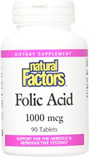 Natural Factors Folic Acid - 1000 mcg - 90 Tablets
