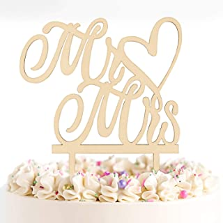 Novelty Place Mr and Mrs Cake Topper - Natural Wooden Wedding Cake Decorative Crafts - Bridal Shower Anniversary Party Dec...