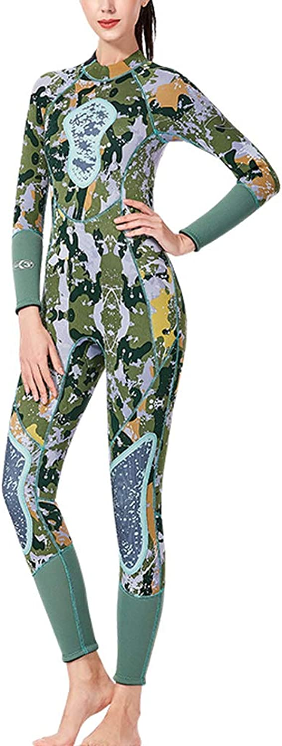 VASTFIRE Women's Wetsuit, 3MM Camouflage Neoprene One Piece Long Sleeve UV-Predective Swimsuit, Adult Diving Suit Surfing Suit for Diving Snorkeling