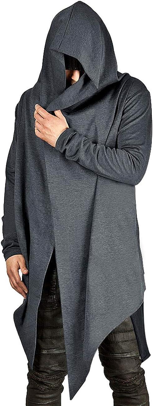 Poriff Mens Draped Cardigans Long Sleeve with Hooded Pockets Long Shawl Ruffle