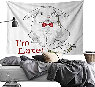 Homrkey Bedroom Tapestry Alice in Wonderland Decorations Collection Funny Rabbit with Watches Cartoon Alice Decor Character Fantasy Hippie Tapestry W70 x L59 White Red