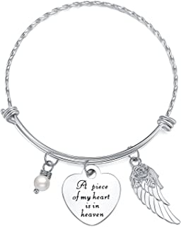 ELOI Memorial Necklace A Piece of My Heart is in Heaven Pendant Jewelry in Memory of Mom Dad Grandpa Baby Loss Memorial Gift