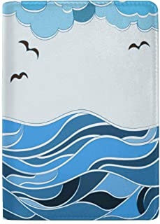 Great Blue Wave Hand Drawing Blocking Print Passport Holder Cover Case Travel Luggage Passport Wallet Card Holder Made with Leather for Men Women Kids Family