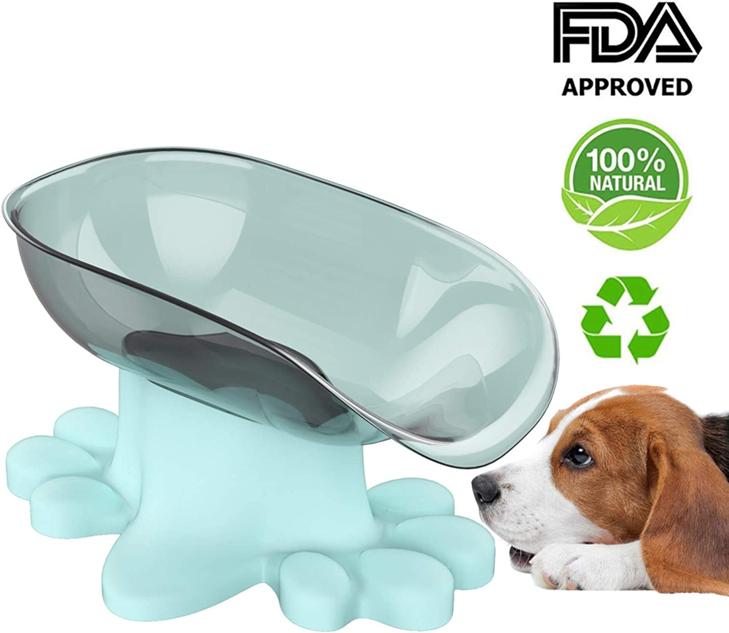 Large Dog Bowl Bule with 15 Degree tilt Predection Gums FDA Certified Environmental Health and Safety 7.28 inch Feeder