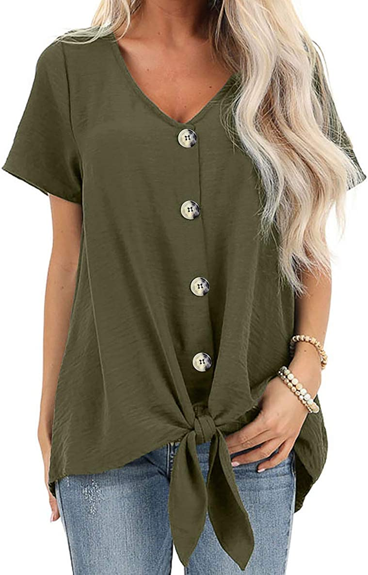 Dokotoo Womens Button Down Front Tie Short Sleeve V Neck Blouses Tops (S-2XL)