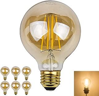 Dimmable Edison Led Globe Light Bulb G25 Warm White Bathroom Vanity Light Bulb 7W (70W Equivalent), E26 Base Pack of 6 (Soft White, 6 Pack)