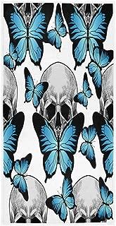 Les Mains Myhou Serviettes de Toilette Multifonctions avec t/ête de Mort Noir et Blanc 40 x 70 cm Serviettes Ultra absorbantes pour Le Bain la Salle de Sport et Le Spa Le Visage