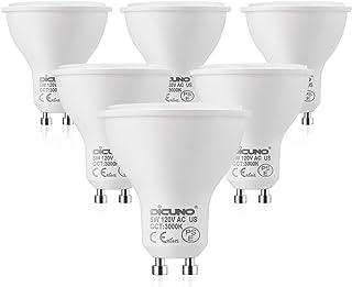 DiCUNO LED電球 GU10口金 50W形ハロゲン相当(5W) 電球色 3000K 500lm 120V LEDスポットライト 6個セット