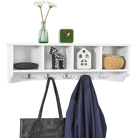 SoBuy® FRG48-L-W Portemanteau Étagère Murale Porte-manteau Salle de Bain Meuble d'Entrée avec 4 Compartiments de Rangement Et 5 Crochets - Blanc