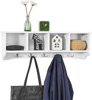 SoBuy Wall Mount Clothes Rack with Shelf, Wall Rack, Wall Shelf with Hooks, White FRG48-L-W